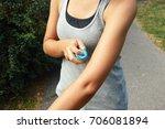 mosquito repellent spray. woman ... | Shutterstock . vector #706081894