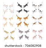 vector set isometric cat icons... | Shutterstock .eps vector #706082908