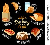 bakery shop vector icons. baked ... | Shutterstock .eps vector #706084954