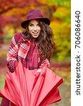 autumn woman in autumn park... | Shutterstock . vector #706086640