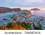 alesund is a port and tourist... | Shutterstock . vector #706087624