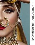 portrait of a beautiful elegant ...   Shutterstock . vector #706092874