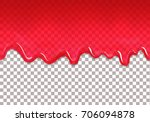 red jam drips seamless border.... | Shutterstock .eps vector #706094878