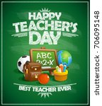 happy teacher s day poster... | Shutterstock .eps vector #706095148