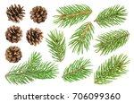 fir tree branch and pine cones... | Shutterstock . vector #706099360