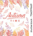 autumn time.hand drawn... | Shutterstock .eps vector #706099669