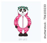 panda in red pajama with...   Shutterstock .eps vector #706103233