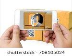 qr code   logistic   augmented... | Shutterstock . vector #706105024