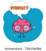 brain cartoon. evrica concept.... | Shutterstock .eps vector #706106086