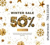 winter sale 50 percent off ... | Shutterstock .eps vector #706110148