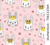 seamless pattern with cute... | Shutterstock .eps vector #706111564