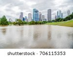 downtown houston at daytime... | Shutterstock . vector #706115353
