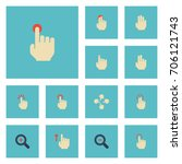 flat icons touch  hold  finger... | Shutterstock .eps vector #706121743