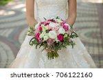 bride with beautiful wedding... | Shutterstock . vector #706122160