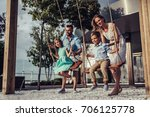 beautiful family is having fun... | Shutterstock . vector #706125778