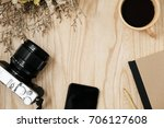 notebook and smart phone with... | Shutterstock . vector #706127608