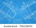 mechanical engineering drawings ... | Shutterstock .eps vector #706128454