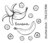 banana. doodle pencil drawn... | Shutterstock .eps vector #706131988