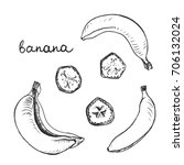 banana  set of isolated sketchy ... | Shutterstock .eps vector #706132024
