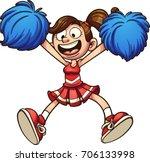 happy cartoon cheerleader.... | Shutterstock .eps vector #706133998
