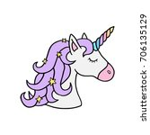 colorful rainbow unicorn vector ... | Shutterstock .eps vector #706135129