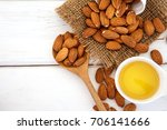 close up almond oil in the... | Shutterstock . vector #706141666