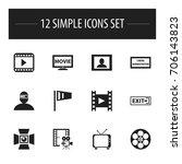 set of 12 editable cinema icons....