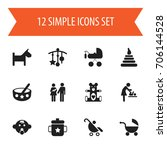 set of 12 editable child icons. ... | Shutterstock .eps vector #706144528