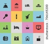 set of 16 editable motel icons. ... | Shutterstock .eps vector #706145200