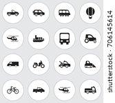 set of 16 editable transport... | Shutterstock .eps vector #706145614