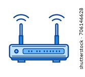 modem hardware vector line icon ...