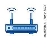 modem hardware vector line icon ... | Shutterstock .eps vector #706146628