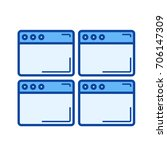 multiple webpage vector line... | Shutterstock .eps vector #706147309