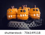 scary cup cakes served...   Shutterstock . vector #706149118