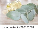 eucalyptus leaves and oil ... | Shutterstock . vector #706159834