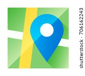 map application icon  blue pin. ... | Shutterstock .eps vector #706162243