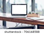 laptop computer and tablet on... | Shutterstock . vector #706168588