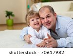 little boy and his father...   Shutterstock . vector #70617982
