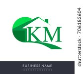 initial logo km with house icon ... | Shutterstock .eps vector #706182604