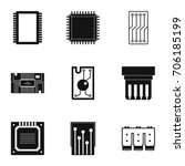 microchip icons set. simple... | Shutterstock .eps vector #706185199