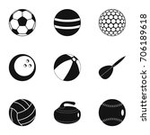 ball icons set. simple style... | Shutterstock .eps vector #706189618