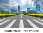 empty road with zebra crossing... | Shutterstock . vector #706190920