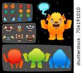 funny cartoon monster... | Shutterstock .eps vector #706191010