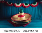 mexican hats on a serape with... | Shutterstock . vector #706195573