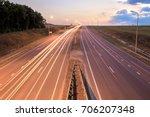 highway traffic in sunset  | Shutterstock . vector #706207348