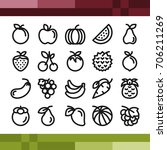 fruit icons set in outline style | Shutterstock .eps vector #706211269