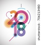 new year creative colorful ... | Shutterstock .eps vector #706213480