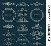 vintage border and rosette for... | Shutterstock . vector #706220104