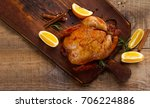 roasted chicken with spices on...   Shutterstock . vector #706224886