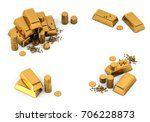 3d gold bars and coins frame on ... | Shutterstock . vector #706228873